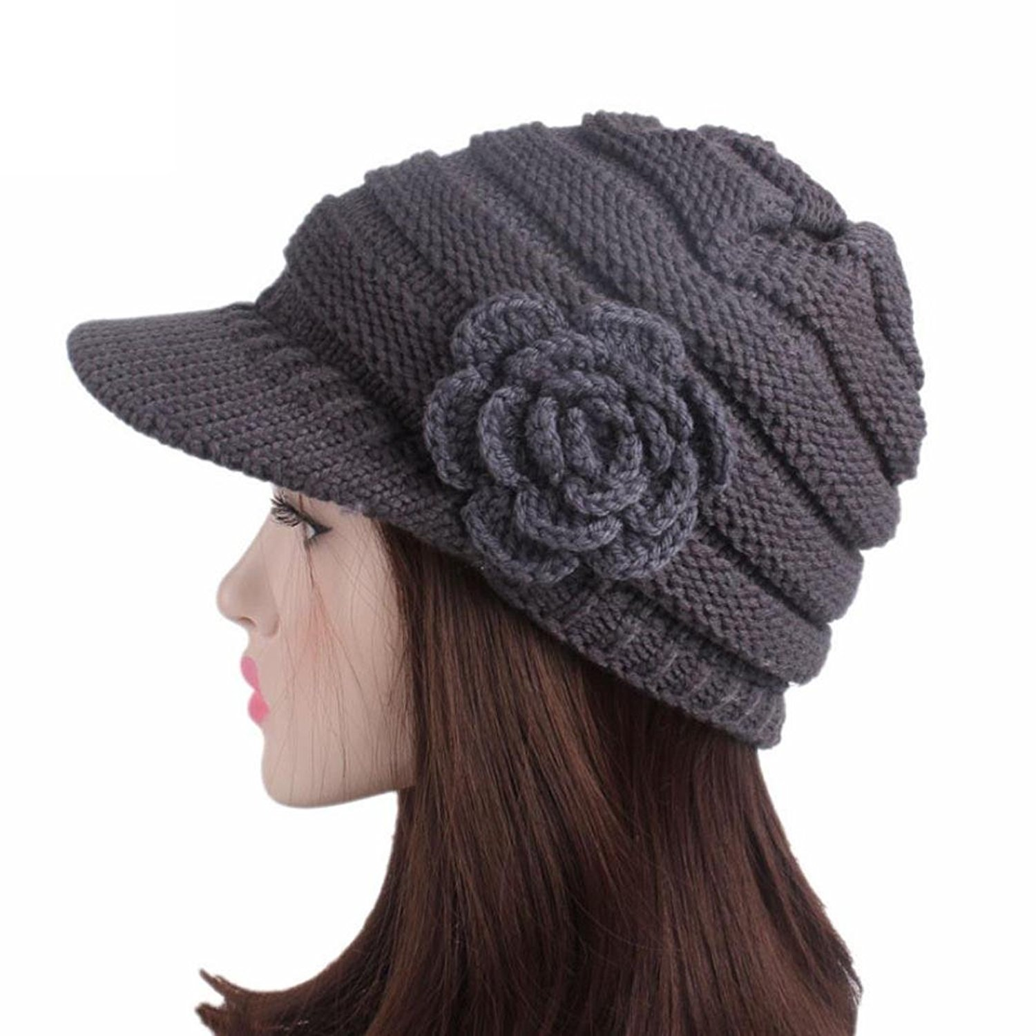 847a01a5625 Get Quotations · Creazydog Creazy Women Ladies Winter Knitting Hat Berets  Turban Brim Hat Cap Pile Warm Hat