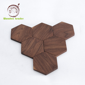 Best selling cheap modern geometric pattern wood plate cup mat wooden coaster set for sale housewarming gifts home decor