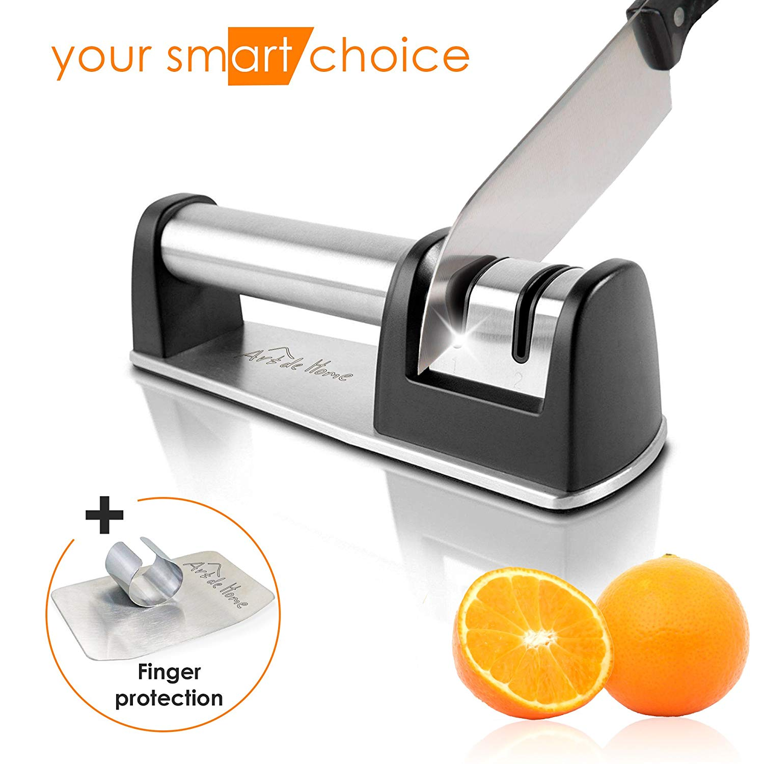 Kitchen Knife Sharpener - Ceramic and Diamond Knife Sharpener - Universal Culinary Knife Sharpener - Kitchen Knives Sharpener - 2-stage Knife Sharpener