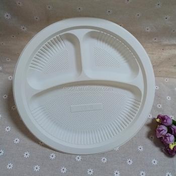 Disposable Cornstarch Tableware Biodegradable Divided Dinner Plate & Disposable Cornstarch Tableware Biodegradable Divided Dinner Plate ...