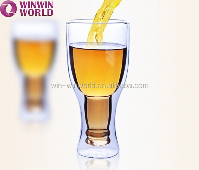 Bar Tool Upside Clear Double Wall Glass Wine Cup
