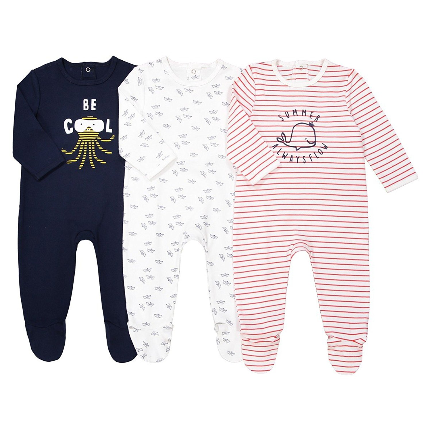 6705f6776 Get Quotations · La Redoute Collections Big Boys Pack of 3 Cotton Sleepsuits,  Birth-3 Years