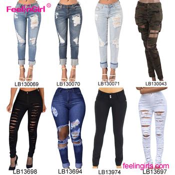 f6326108d4 Venta directa de fábrica 2017 clásico destruido culo levantar jeans Mujer Jean  Pantalones