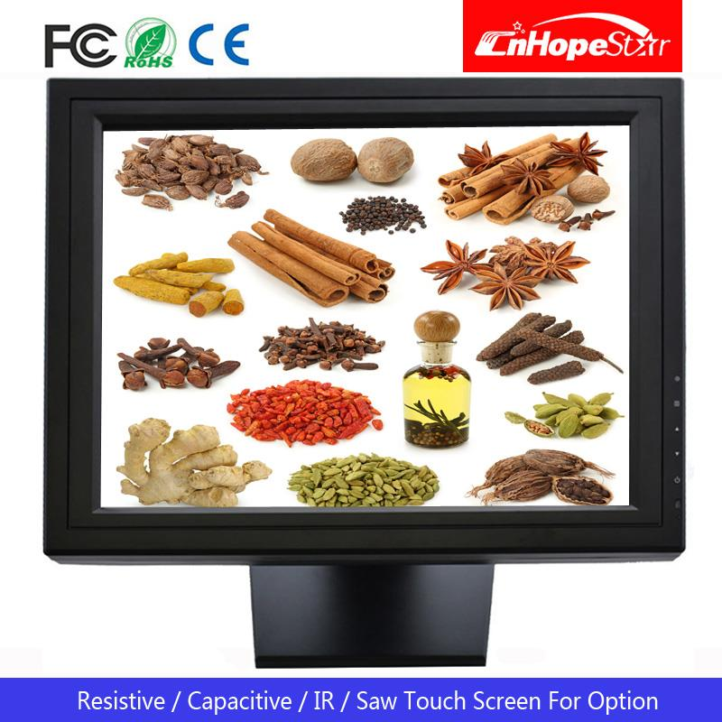 VGA USB LCD Multi-touch 15 inch lcd 5 wires resistive touch screen monitor