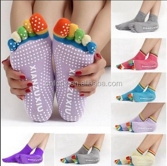 Colorful Five Finger Toe Yoga socks / Anti Skid Slip Socks / fitness socks