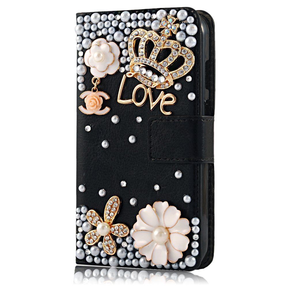 Rosepark(TM) Moto G leather case, 3D Handmade Bling Crystal Crown Rhinestone Flower Pearl Diamond Design Sparkle Glitter Leather Wallet Type Magnet Flip Case Cover for Moto G(Black), With Screen Protector, Stylus Pen and Cleaning Cloth