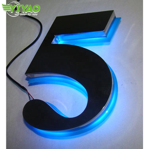 YIYAO customized decorative stainless steel aluminum metal big illuminated sign name tag numbers