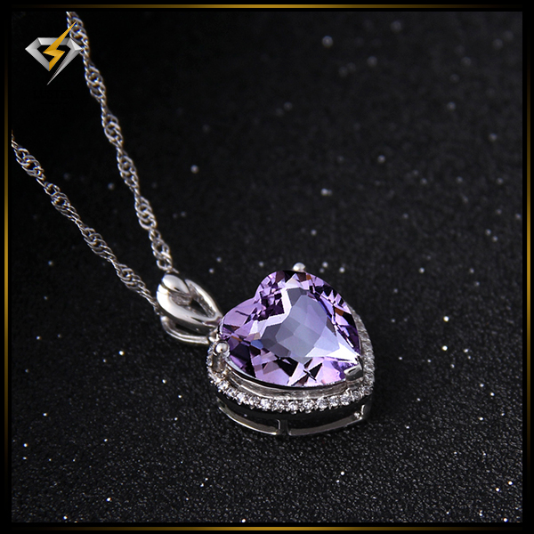 925 Sliver Jewelry South Africa Natural Amethyst Pendent from China Luster