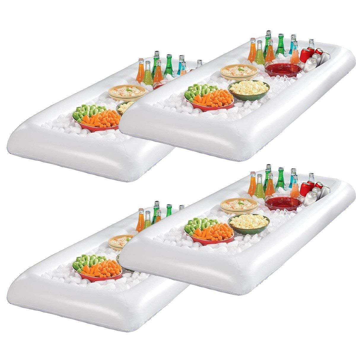 Infltable Buffet Serving & Salad Bar Ice Buckets Food Cooler Inflatable Beer Drink Tray,Food Drink Holder BBQ Picnic Pool,with Drain Plug (4 Pack)