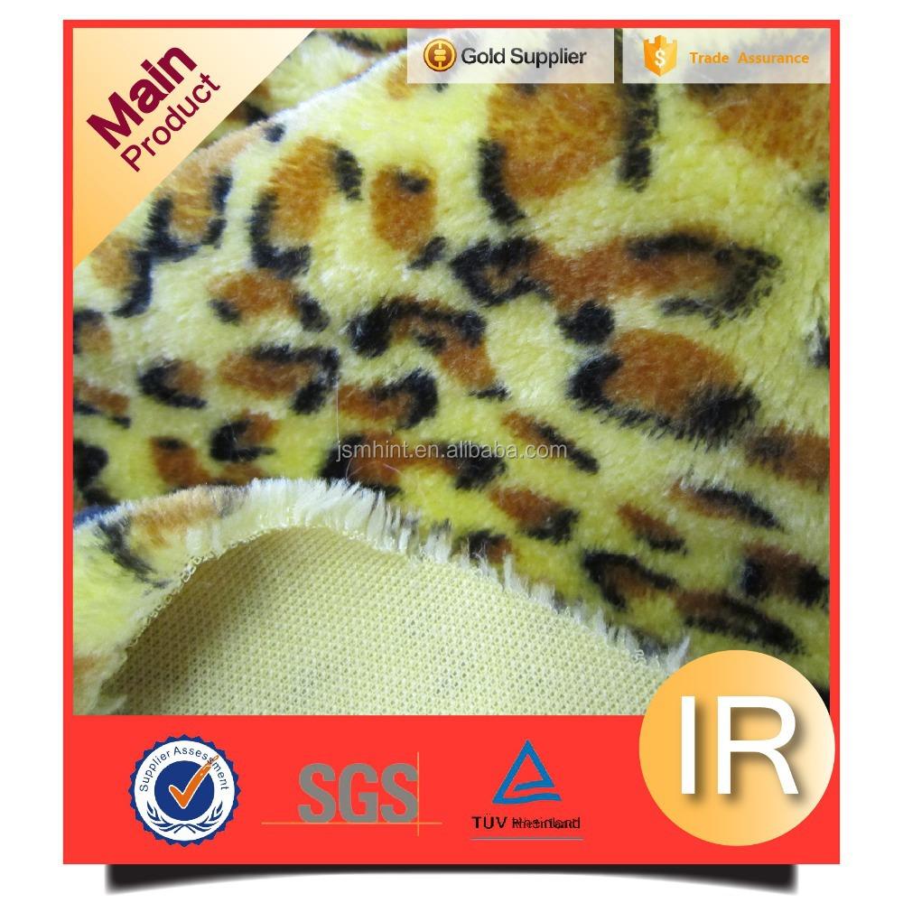 Yellow 100% polyester fake animal print fur for throw blankets