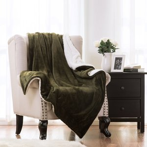 60x80 Olive Green Bed Sheet Set Blanket Reversible Blanket Sherpa Throw Blanket For Bed