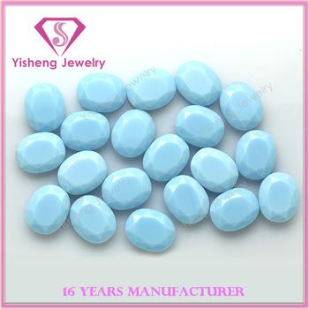 Oval Light Blue Jade Fancy Polished Glass Rough Gemstones