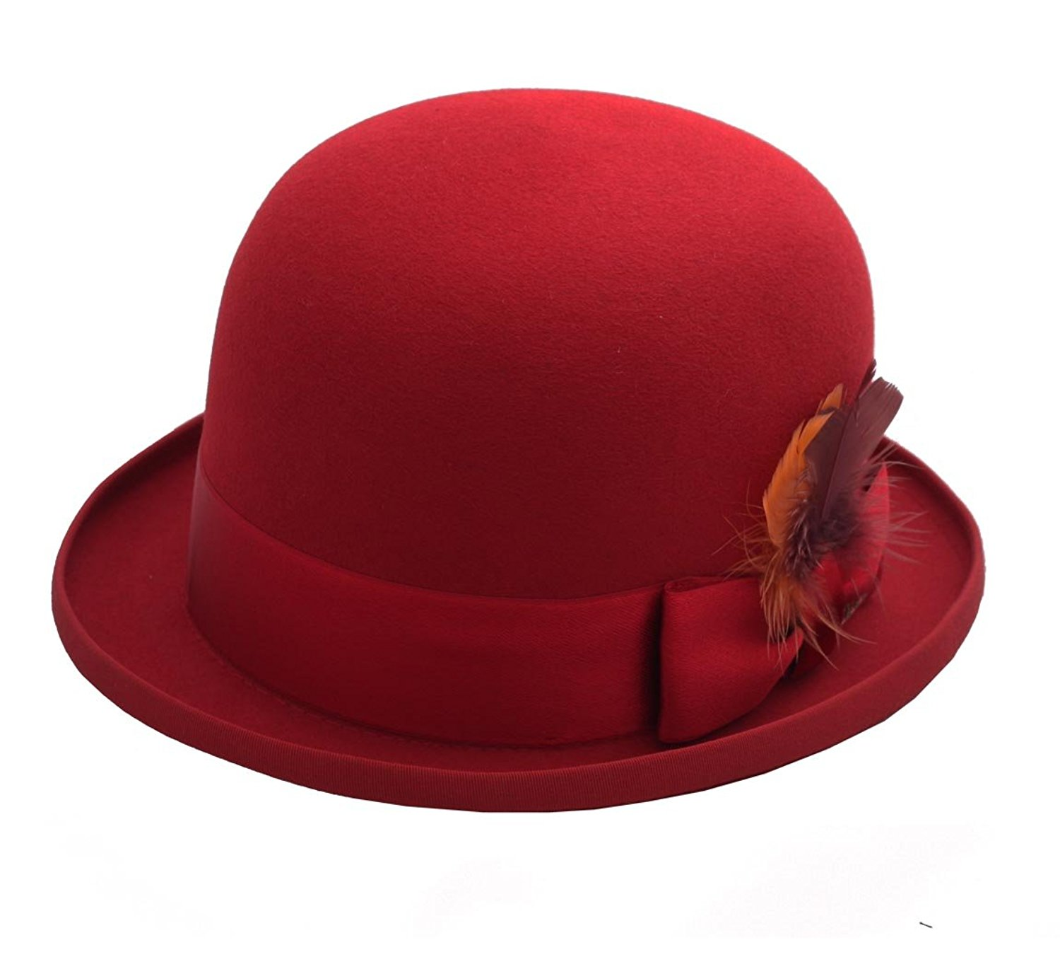 42b22d72312 Get Quotations · Stetson Ennio Furfelt Gambling Bowler Hat Size 59 Cm Red