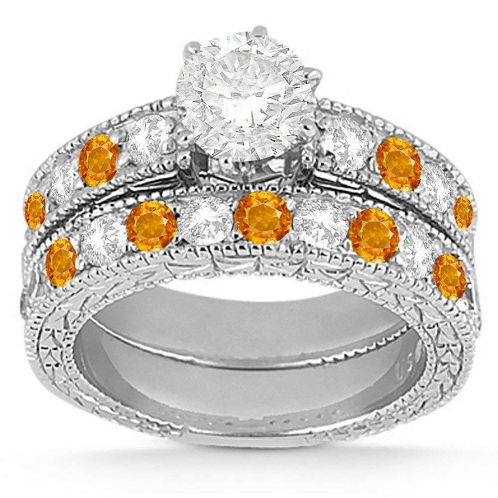 Vintage Citrine and Diamond Engagement Ring and Matching Band Bridal Ring Set Palladium (1.80ct)