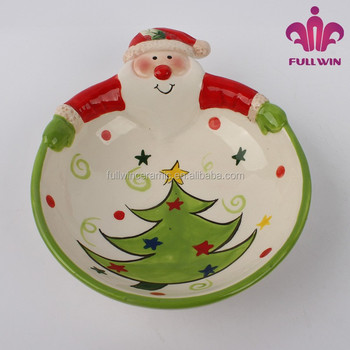 santa design ceramic christmas candy platedolomite christmas candy dish