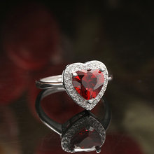 Quality Assurance Adjustable Size Red Gemstone Heart Shape Women 925 Sterling Silver Ring Heart Imprint Diamond Ring