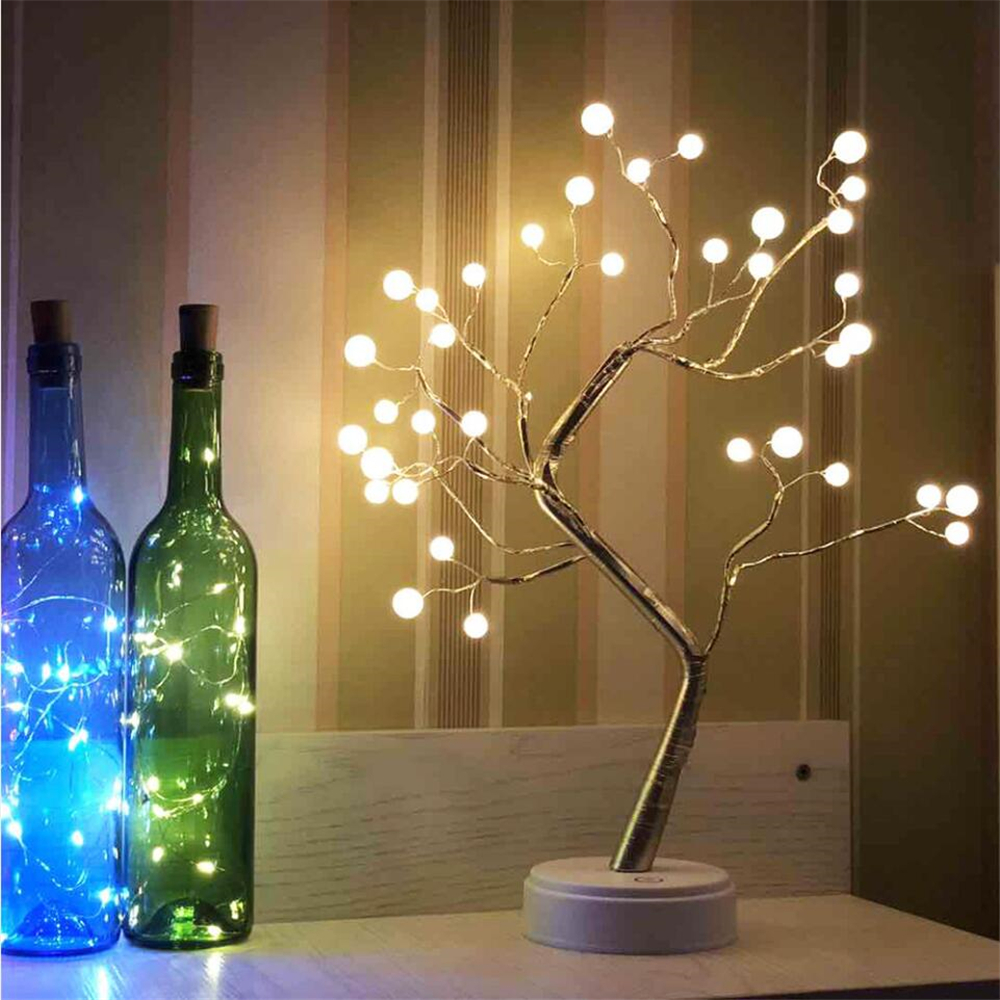 Holiday Christmas LED Artificial Decoration Tree Light Table Lamp Night Light