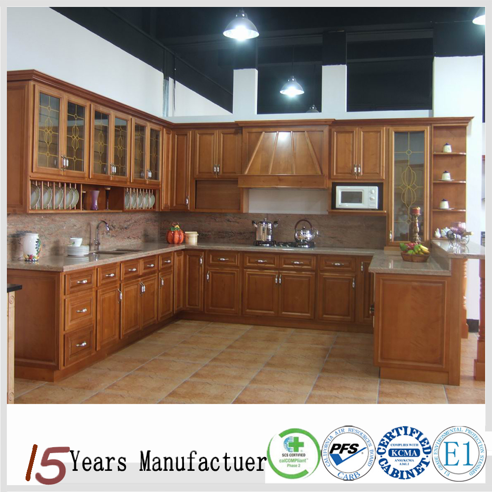China Cheap Building Materials Solid Wood Kitchen Cabinet
