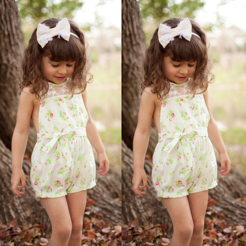 17e24c504 2019 Wholesale 2016 NEW Pretty Girls Floral Playsuit One Piece Kids ...