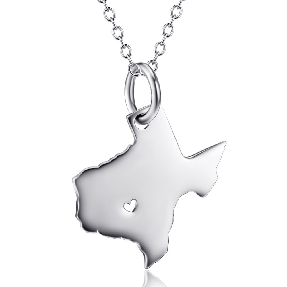 State Necklace Texas State Charm Necklace Sterling Siver State Necklace With A Heart