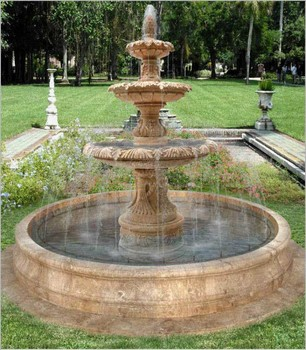 Garden Marble 3 Layer Round Stone FountainStone Scuipture