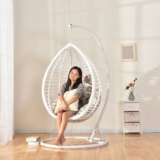 China supplier lifting double seat rattan hanging chair of iron frame