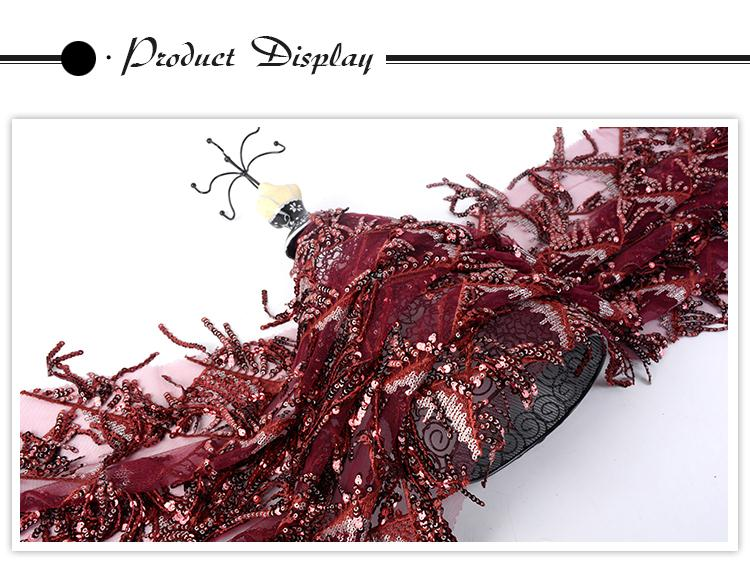 Fast delivery luxury mesh comfortable wine red sequins soft tulle fabric