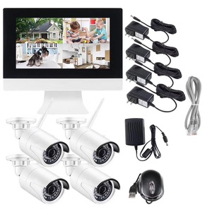 4Ch Plug and Play onvif Wifi Security 720p 960p 1080p Wireless Cameras nvr Kit With Screen LCD NVR