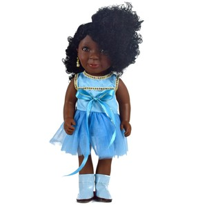 High quality 16 inch plastic vinyl fashion black dolls wholesale