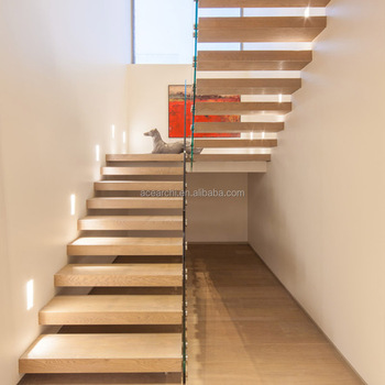 Rubber Wood Tread Stairs Floating Cantilevered Staircase For Indoor