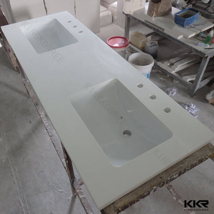 Solid Surface Top Corner Countertop L Double Curved Hotel Furniture Prefabricated Bathroom Vanity