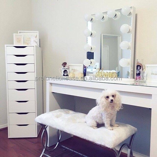 2016 meilleur usa de courtoisie clair miroir avec led for Chambre avec coiffeuse
