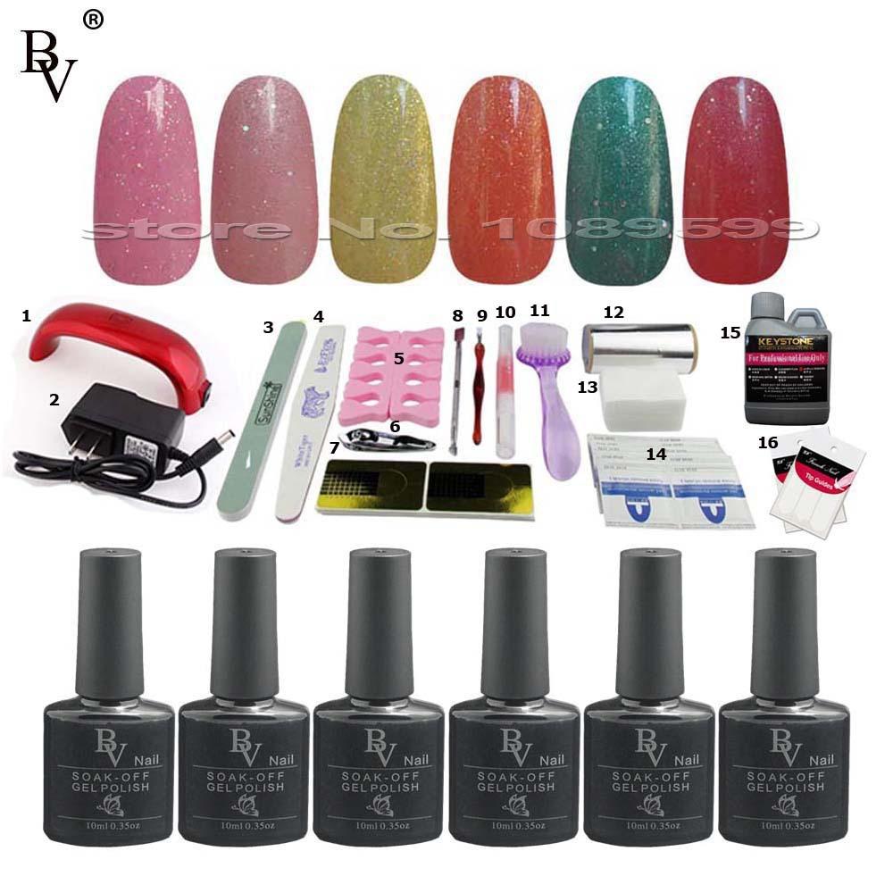 6pcs styling tools gel nail polish set colour uv gel remover nails manicure set acrylic nail. Black Bedroom Furniture Sets. Home Design Ideas