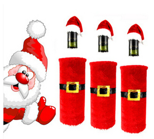 Wine Bottle Cover Xmas Santa Decor Wine Bottle Set Christmas Bottle Cap Dress