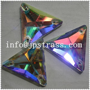fancy sew-on crystal flat back glass beads of wedding dress decor triangle shape 16*16mm