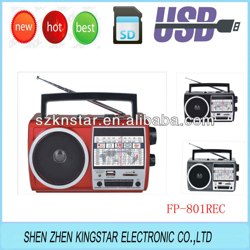 world band receiver radio speaker with usb recording