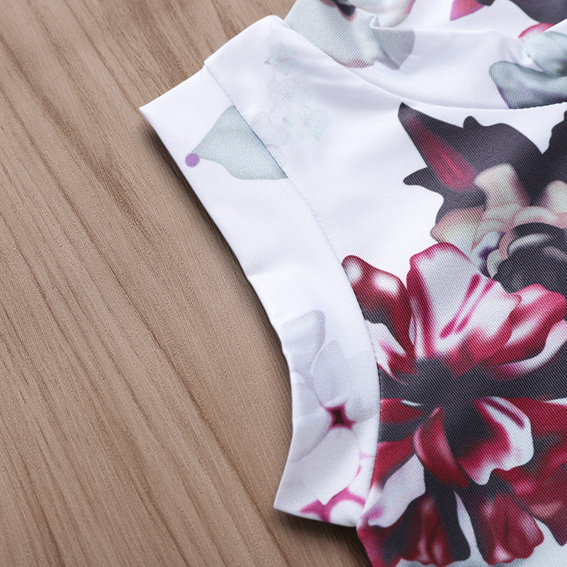 Hot Sale Customized 100% Cotton sleeveless Ink flower print Newborn Baby Romper Jumpsuit For Summer
