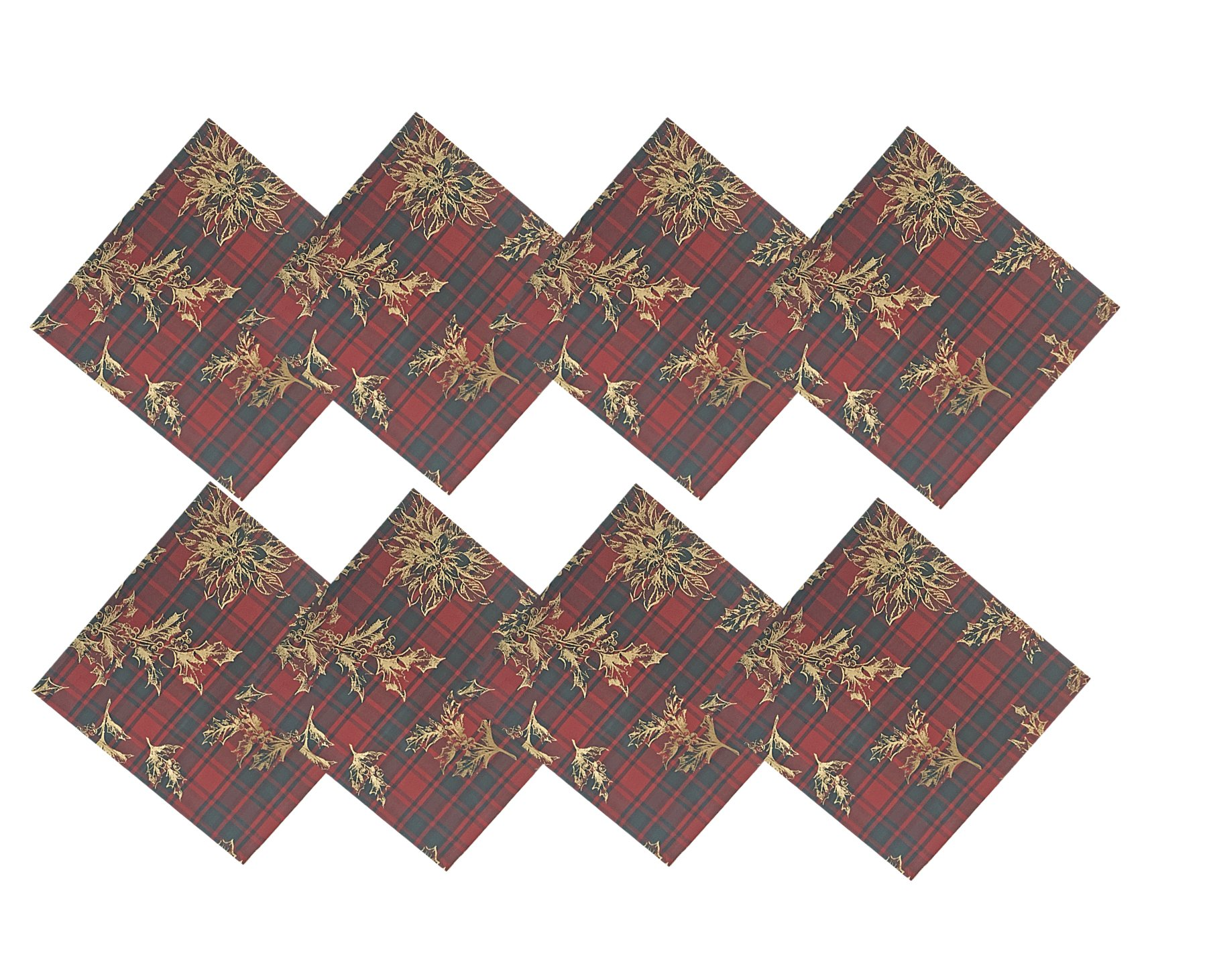 Christmas Holly Lodge Plaid, Red, Green and Gold Cotton Weave Holiday Napkins, Set of 8 Napkins