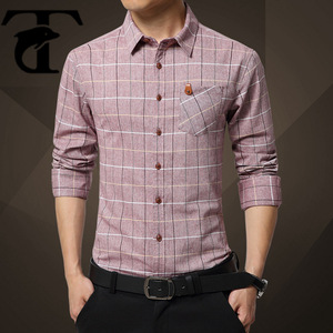 hot new products 2016 formal wear 100% sea island cotton grid shirt for men