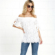 white lace design beauty tee short sleeve cotton beach off-shoulder sexy tunics