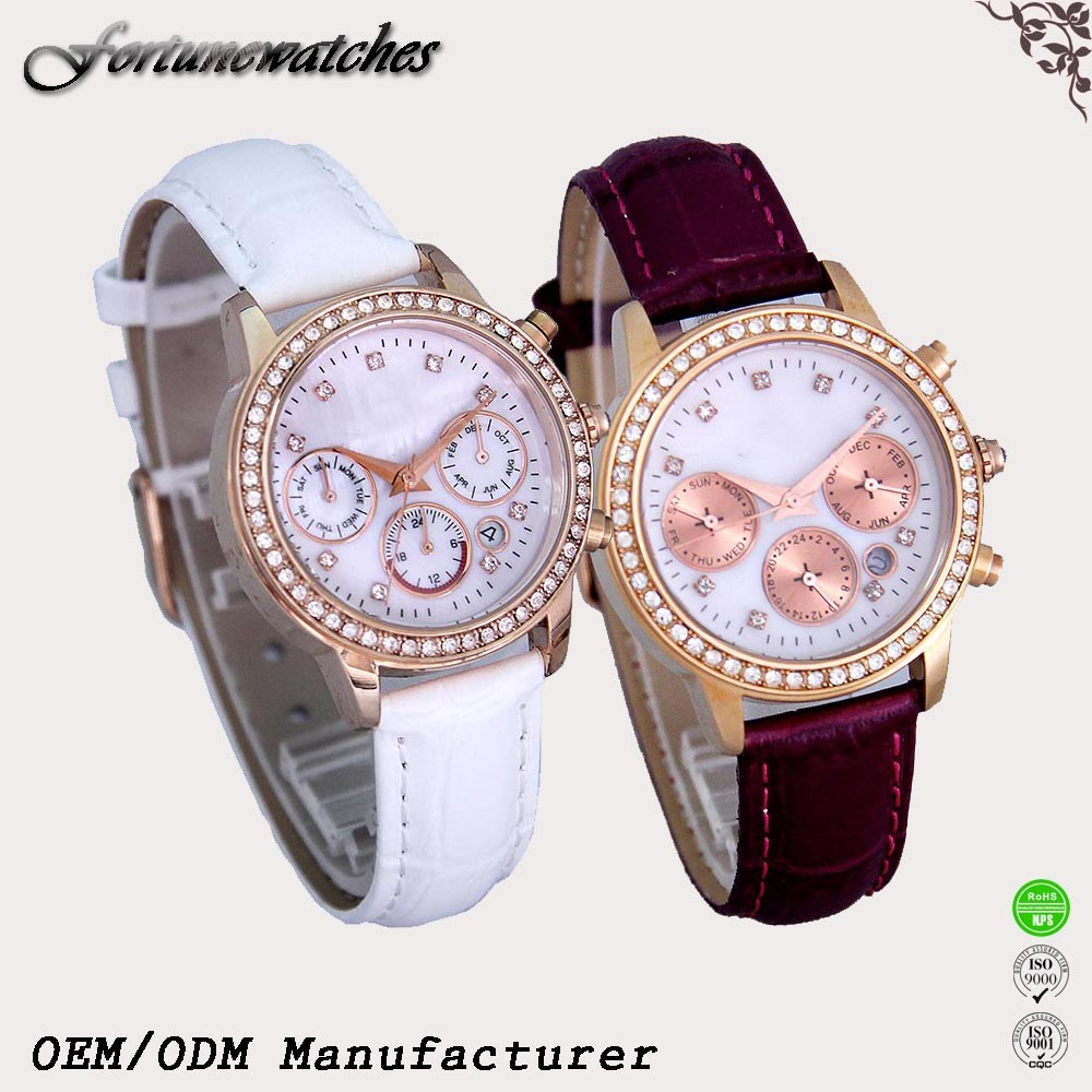 Ladies Shell Face Dial Watches Crocodile Leather Strap With Diamond
