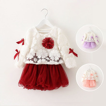 2015 New arrival fashion autumn winter baby girl dress, butterfly knot lace pleated skirt kids wine clothing set, 2pc coat+dress