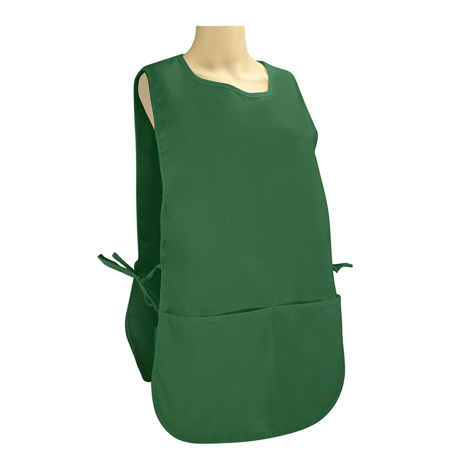 "DALIX Cobbler Apron 2 Pockets Smock Regular 28.5"" x 18.5"" Poly Cotton Black White (1, Dark Green)"