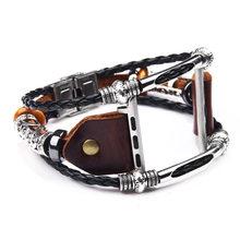 Коричневый кожаный ремешок для Apple Watch 5 4 3 2 1 38 мм 40 мм, мужской кожаный ремешок для iwatch 5 4 44 мм 42 мм браслет(Китай)