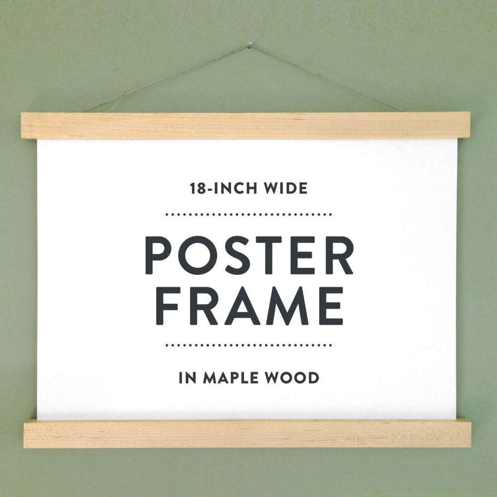 magnetic print hanger 18 wooden poster hangerposter frame in maple wood with magnetic fasteners no screws buy wooden poster hanger product on - Wooden Poster Frames