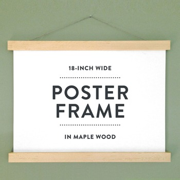 magnetic print hanger 18 wooden poster hanger poster frame in maple wood with magnetic - Wood Poster Frame