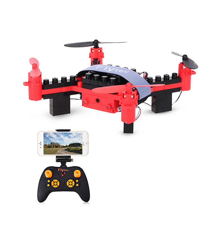9. T11S_Red_WIFI_FPV_DIY_Building_Blocks_Drone_with_0.3MP_Camera_RC_Drone