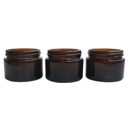 50ml Snow Diamond Empty Amber Round Glass Jars with White Inner Liners and black Lids High End Glass Containers