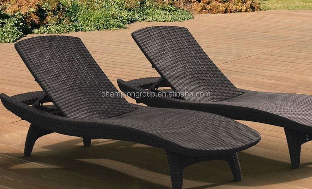 Set of 2 Resin Wicker Rattan Chaise Lounge Chairs Outdoor Pool Patio Furniture