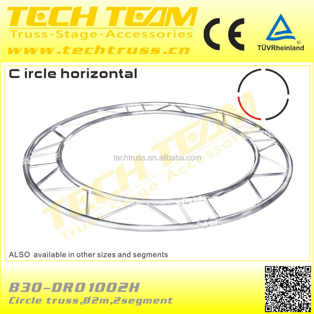 B30-DR01002H 290 Flat Horizontal Circle Truss System/2m Circle 180 Degree Concert Circle Roof Truss System.